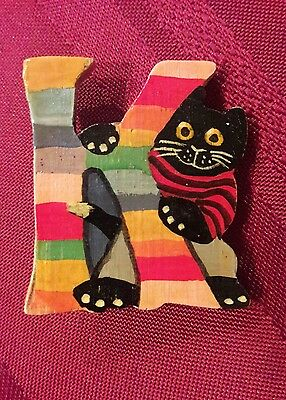 Black Cat Pin Initial Letter K Kitty Kitten Striped Colors Lapel Hat Brooch