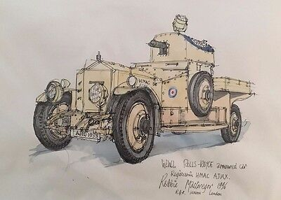 Original Pen and ink Sketch of the WWI Rolls Royce Armoured Car.