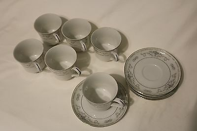 Diane Fine Porcelain China Cup And Saucers, 12 Pc Set