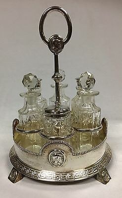 Antique Silver Plated Cruet with 6 Bottles and carry stand