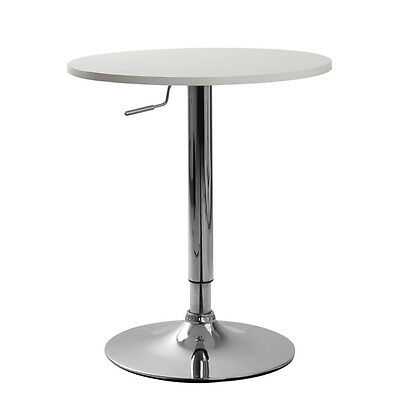 Round Bar Table White Wood Adjustable Height Tabletop Rotating Pub