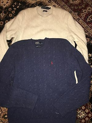 Lot Of 3 Polo Ralph Lauren CASHMERE Cable Knit Mens Sweater XL & Blue Wool L
