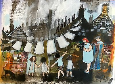 Large Original Mixed media painting by Fredi 'The backyard'  northern art