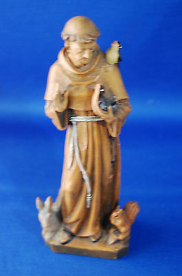 An antique carved and painted wooden St.Francis of Assisi figure, gothic, church