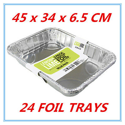 24 Aluminum Foil Trays Disposable Roasting Takeaway BBQ Baking Oven Party Bulk W