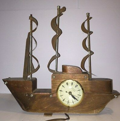 Antique vintage rustic wood ship clock mantel table shelf nautical maritime