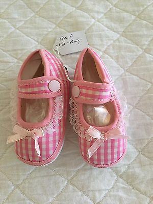 Pink & White Gingham Baby Girls Shoes - Size 12-18 Months