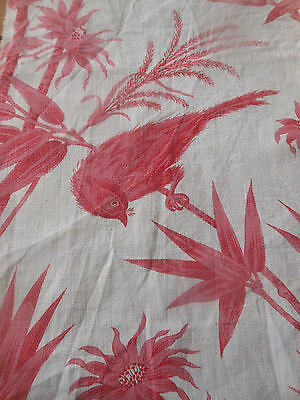 Antique  French Time Faded Strawberry Pink Red Bird Cotton Fabric ~ #2