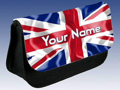Union Jack Gb Flag Personalised Pencil Case / Ds Case / Make Up Bag & Named Too