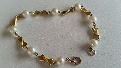 mikimoto 14ct yellow gold and pearl bracelet