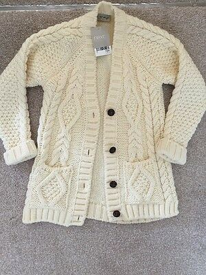 ** Next Girls Chunky Knit Cream Cardigan BNWT Age 5-6 Years **