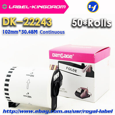 50Rolls Brother DK-22243 Compatible Label 102mm*30.48M Come With Plastic Holder