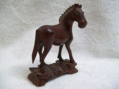 """Vintage Detailed Hand Carved Brown Wood Horse with Glass Eyes 4 3/4"""" Tall"""