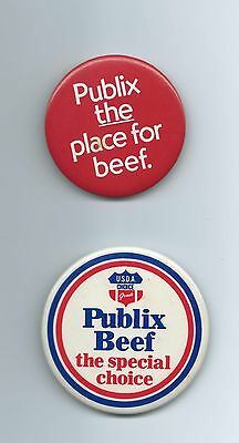 2 Old Rare Publix Meat Pin / Buttons