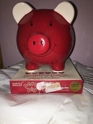 Marks & Spencer M&S Vintage Piggy Bank Percy Pig new Unused Coin Box Valentines