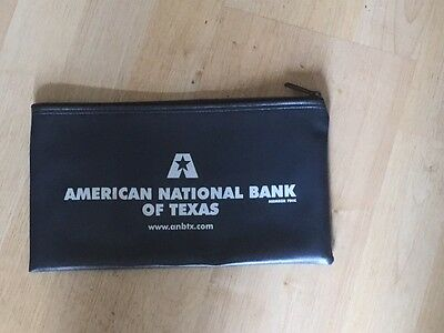 Blue Vinyl Zippered Bank Bag American National Bank of Texas