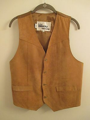 Wilsons Tan Leather/Suede Button-Front Lined Womens Vest Size Large EUC