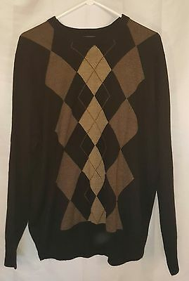 Men's Dockers Crewneck Sweater Size Extra Large XL EUC Black and Tan