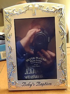 Malden Silver Plated Frame Baby's Baptism Picture 4 X 6 ~NIP Photo FRAME