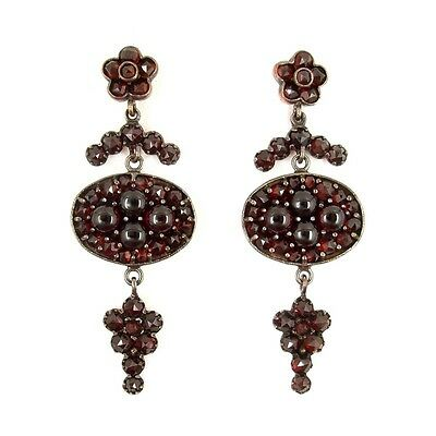 Impressive Vintage garnet earrings w/14ct gold studs in Art-Deco style ГРАНАТ#PK