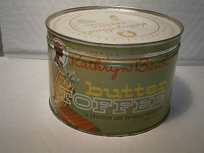Kathryn Beich Candy Vintage Tin Can Metal Butter Toffee Collectible With Lid MT
