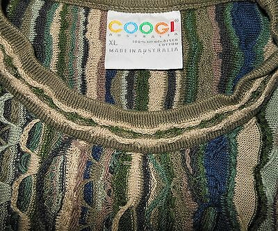 COOGI AUSTRALIA Multi-Color Mercerized Cotton 3-D Knit Sweater Men's Size XL