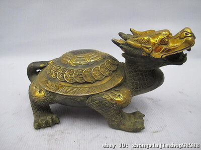Chinese Lucky Bronze Gilt Feng Shui Money Eight Diagrams Dragon tortoise Turtle