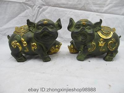 Chinese old Bronze copper Zodiac YuanBao Gourd Lucky Fu Wealth Pig Statue Pair
