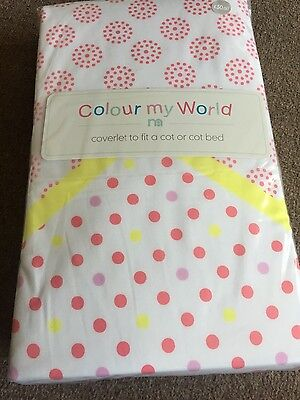 NEW MOTHERCARE Coverlet Colour my World to fit cot/cot bed RRP £30.00