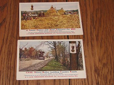 lot of 2 antique postcards_J.I. Case Threshing Machine Co._steam roller,engine