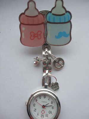 Nurse Watch Midwife Student Nurse Pink Baby Bottle Blue Baby Bottle with Charms
