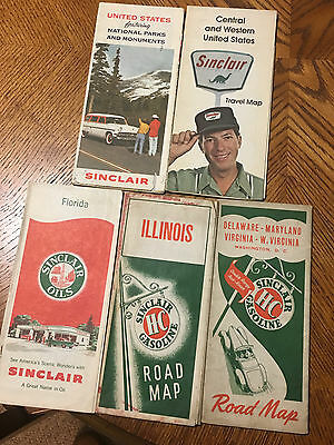 Vintage Lot Of (5) Sinclair Oil Company Road Maps Nice Look!