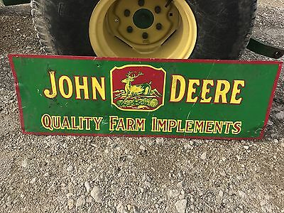 "Big John Deere Farm Implements 36"" Metal Farm Sign Barn Tractor Feed Seed Sign"