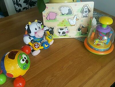 Baby toy bundle Fisher price crawl ball Vtech cow puzzle