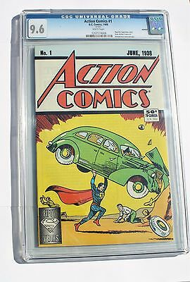 Cgc 9.6 Action 1 Comic 1988 & Rcm 2014 Silver  Superman Coin & Stamp Booklet
