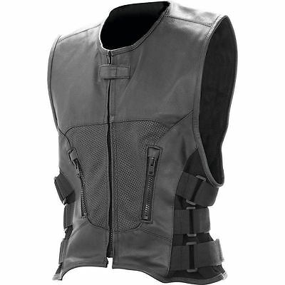 New Mens Black Buffalo Solid Leather Classic Motorcycle Vest MC Biker Club Lined