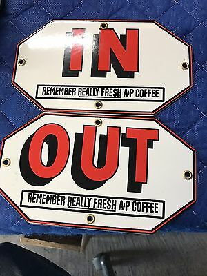 A&p Coffee Out Porcelain Door Push Sign  General Store Gas Oil Pop Ih