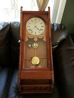 Antique Oak  Regulator Seth Thomas Queen Anne Clock, Movement Just  Overhauled.