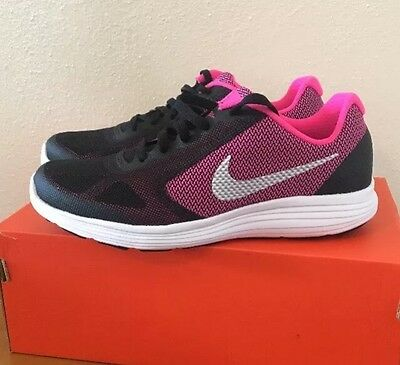 New Nike Revolution 3 Youth Girls Shoes Black Silver Pink Size 6 Y