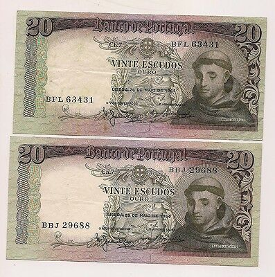 Two May 26,1964 Banco De Portugal Vinte Escudos Bank Notes--Nice Notes !!