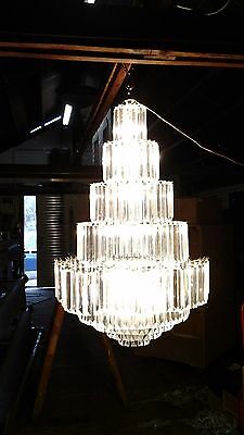 Retro Party Wedding or event Chandelier Acrylic dongles HUGE!! 5 feet brass