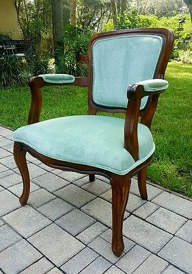 Beautiful Vintage French Provincial Country Carved Wood AQUA VELVET  ARM CHAIR