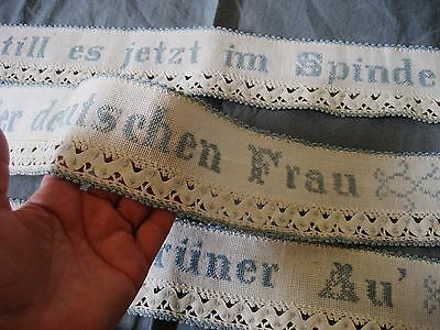ANTIQUE COTTON STRIPS  EMBROIDERY CROCHET NEEDLE WORK German quality home decor