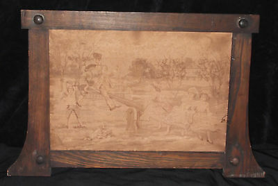 Antique Alonzo Perez CHILDREN PLAYING SEESAW French Silk 19th C Tapestry Framed