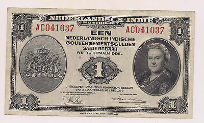 2-3-1943 Netherland East Indies Een Gulden Banknote--No Pinholes nor Tears !!!
