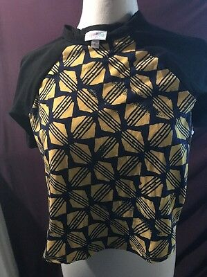 NWT Kids Lularoe Size 6 Sloan Tee Black Sleeves With Navy And Yellow Pattern