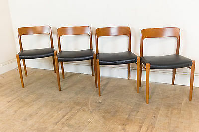 Set of 4 Vintage Retro Moller Model 75 Teak Danish Dining Chairs