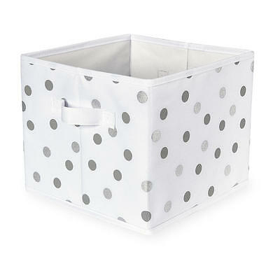 Koala Baby White Canvas Folding Bin - Gray and Silver Polka Dot