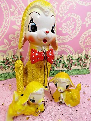 "Vtg ARNART SUGARED YELLOW Anthropomorphic Lambs LARGE 6 1/4"" MAMA W 2 LAMBS"