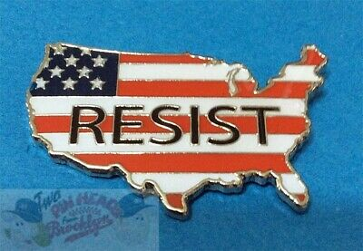 "Donald Trump Not My President!  ""resist"" Usa Flag Pin"
